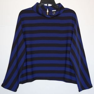 Black Label by Chico's striped collared top blouse